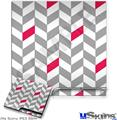 Sony PS3 Slim Decal Style Skin - Chevrons Gray And Raspberry