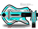 Psycho Stripes Neon Teal and Gray Decal Style Skin - fits Warriors Of Rock Guitar Hero Guitar (GUITAR NOT INCLUDED)