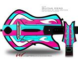 Psycho Stripes Neon Teal and Hot Pink Decal Style Skin - fits Warriors Of Rock Guitar Hero Guitar (GUITAR NOT INCLUDED)