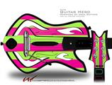 Psycho Stripes Neon Green and Hot Pink Decal Style Skin - fits Warriors Of Rock Guitar Hero Guitar (GUITAR NOT INCLUDED)