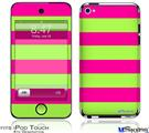 iPod Touch 4G Decal Style Vinyl Skin - Psycho Stripes Neon Green and Hot Pink