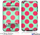 iPod Touch 4G Decal Style Vinyl Skin - Kearas Polka Dots Pink And Blue
