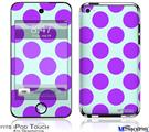 iPod Touch 4G Decal Style Vinyl Skin - Kearas Polka Dots Purple And Blue