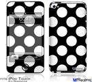 iPod Touch 4G Decal Style Vinyl Skin - Kearas Polka Dots White On Black