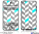 iPod Touch 4G Decal Style Vinyl Skin - Chevrons Gray And Aqua
