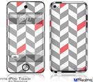 iPod Touch 4G Decal Style Vinyl Skin - Chevrons Gray And Coral