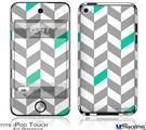 iPod Touch 4G Decal Style Vinyl Skin - Chevrons Gray And Turquoise