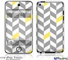 iPod Touch 4G Decal Style Vinyl Skin - Chevrons Gray And Yellow