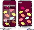 iPod Touch 4G Decal Style Vinyl Skin - Plain Leaves On Burgundy