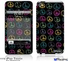 iPod Touch 4G Decal Style Vinyl Skin - Kearas Peace Signs Black