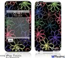 iPod Touch 4G Decal Style Vinyl Skin - Kearas Flowers on Black