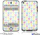 iPod Touch 4G Decal Style Vinyl Skin - Kearas Hearts White