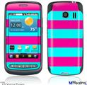 LG Vortex Skin - Psycho Stripes Neon Teal and Hot Pink